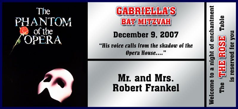BROADWAY PLACECARDS- Bar Mitzvah, Sweet16, Corporate Events,Themes