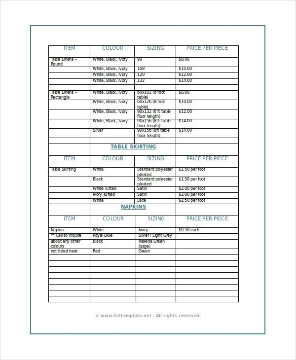 Product List Template - 6+ Free Word, PDF Document Downloads ...