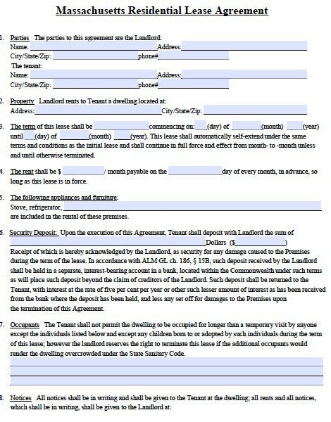 Free Massachusetts Standard Residential Lease Agreement Form – PDF ...