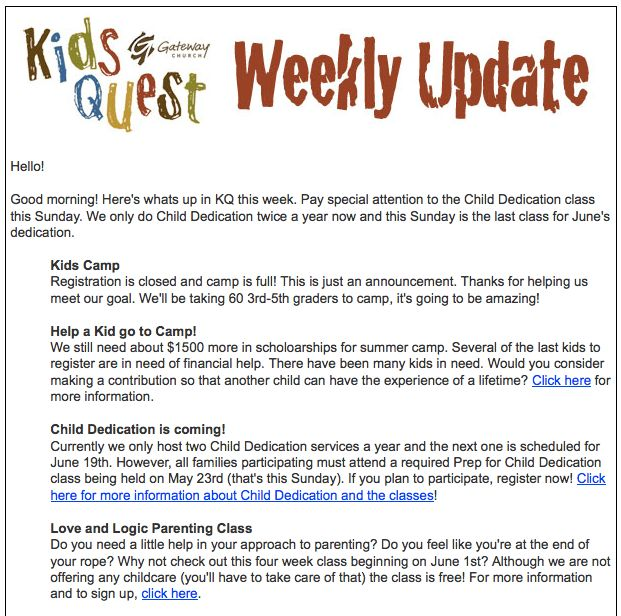 Updating my weekly parent update | Childrens Ministry Online