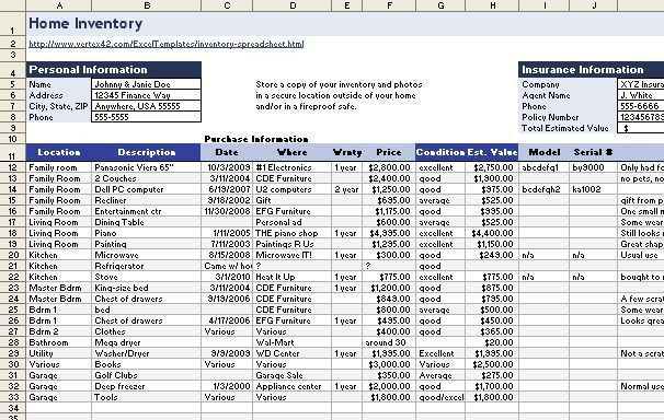 Download a Free Home-Inventory Spreadsheet | PCWorld
