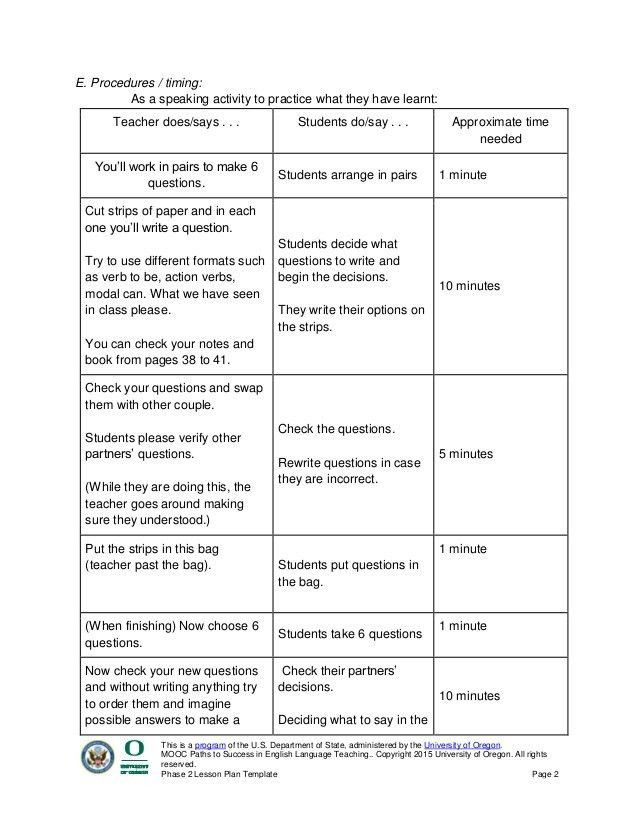 Phase 2 lesson plan template paths to success in english language tea…