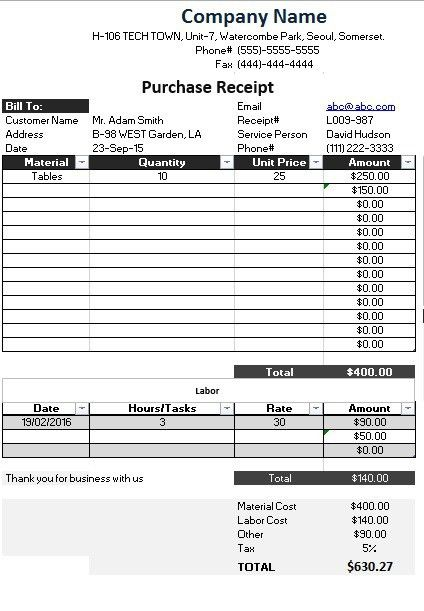 10 Free Sample Product Purchase Receipt Templates – Printable Samples