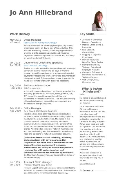 Office Manager Resume samples - VisualCV resume samples database