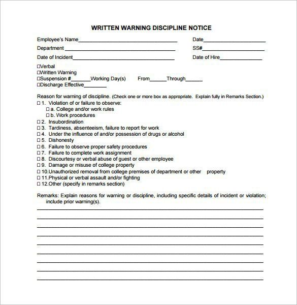 Employee Written Warning Template | Template Design