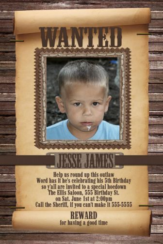 Wanted Poster Child's Cowboy Birthday Invitation