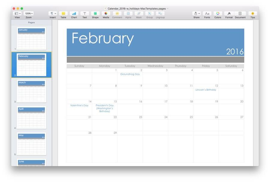 2016 Calendar Template for Pages & PDF- MacTemplates.com