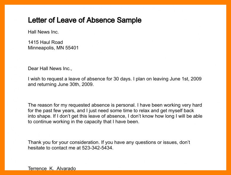 9+ sample letter for leave | resumes great