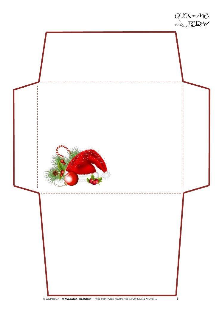 Letter to Santa Claus envelope template -Simple Santa hat-3