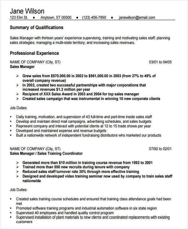 Sample Sales Job Resume - 11+ Free Samples, Examples Format ...