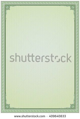 Frame Border Background Diploma Certificate Blank with Stock ...