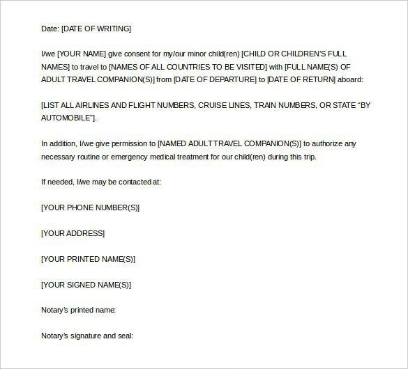 Notarized Letter Template For Child Travel   Template Design