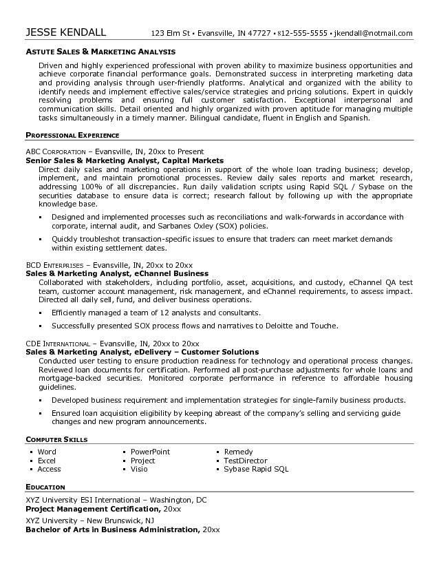 financial analyst resume example business analyst resume summary ...