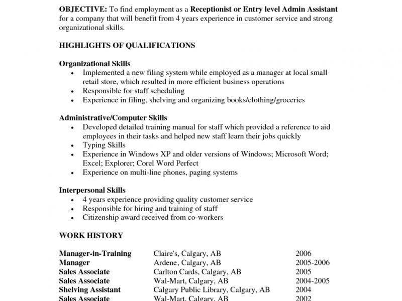 Resume Objective For Entry Level - CV Resume Ideas