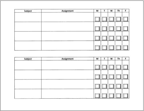 Student Daily Checklist Template