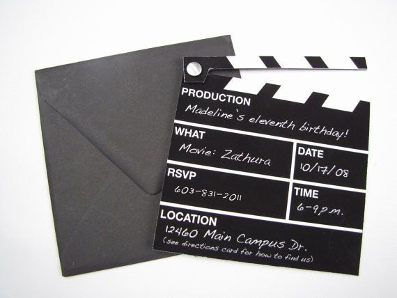 Hollywood Director's Clapper Board Movie Themed Invitation ...