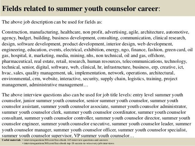 summer camp counselor cover letter