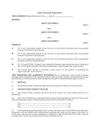 Partnership and Joint Venture Forms | Legal Forms and Business ...