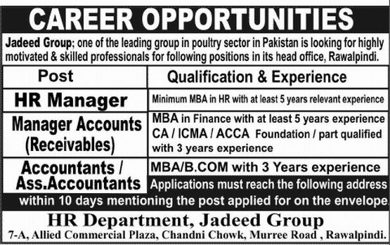 Assistant Accountant Job, Jadeed Group Job, HR Manager, Manager ...