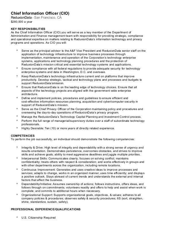 Chief Information Officer Job Description PDF