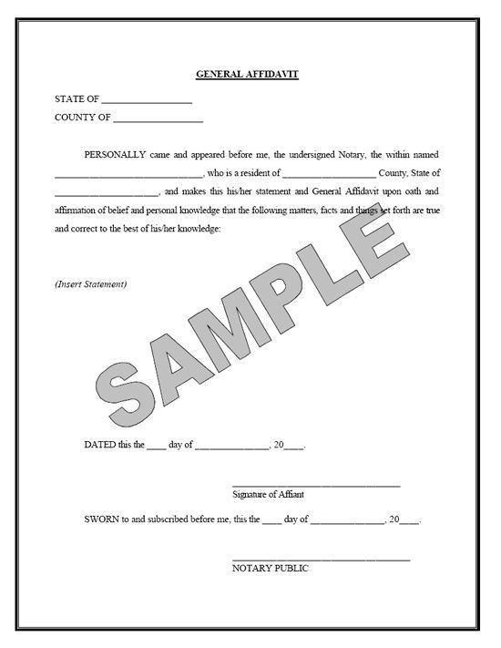 A Sample Of The Marriage Affidavit Form Contains Information .  Affidavit Sample Format
