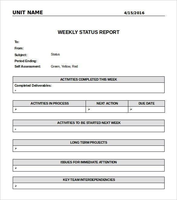 Weekly Status Report Template | cyberuse