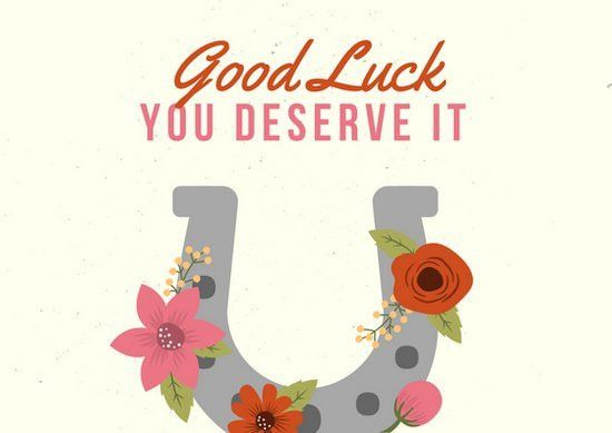 Cream with Horse Shoe with Flowers Good Luck Card - Templates by Canva