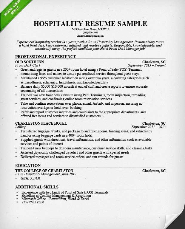 Bold Ideas Hotel Resume 9 Hospitality Resume Sample Writing Guide ...