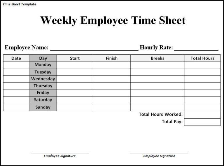 Time Sheet Format And Template Samples : vlashed