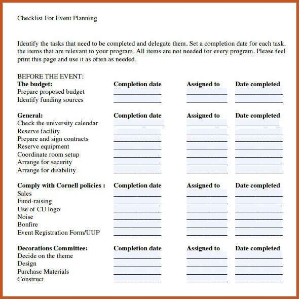 Sample Event Planning Checklist. Fundraising Event Action Planning ...