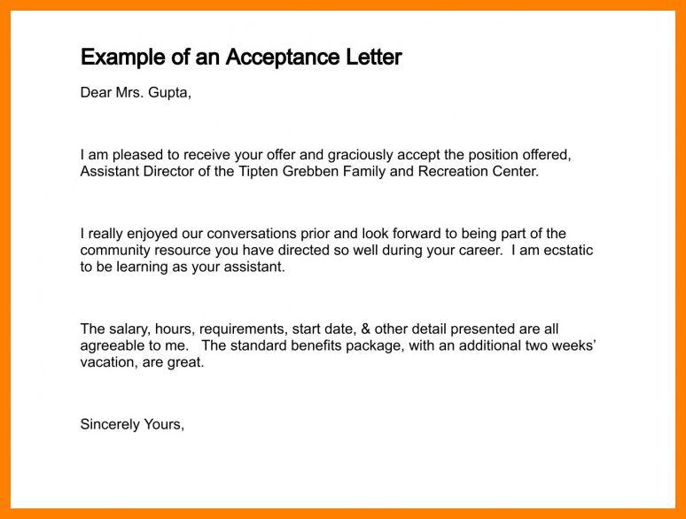 6+ acceptance letter sample | aplication format