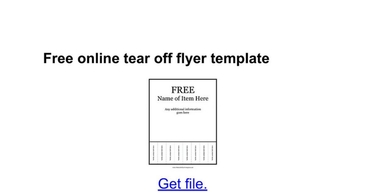 Free online tear off flyer template - Google Docs