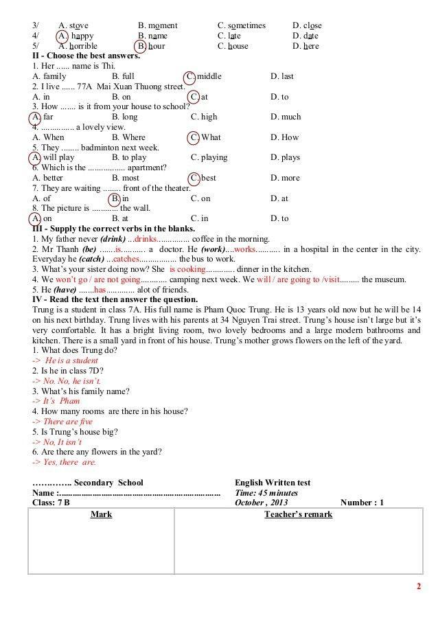 Kiểm tra 1 tiết tiếng anh lớp 7 lần 1 hki