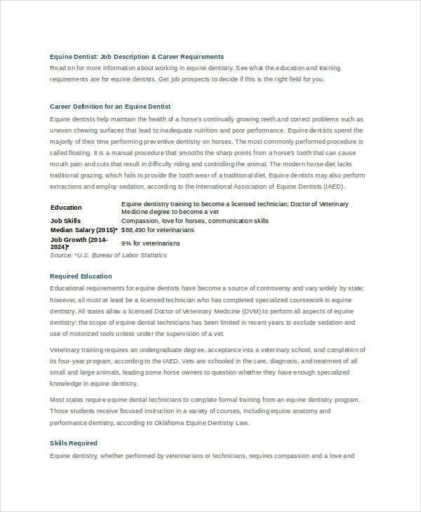 Dentist Job Description   9+ Free Word, PDF Documents Download .