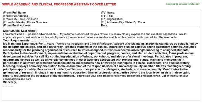 Academic And Clinical Professor Assistant Cover Letter