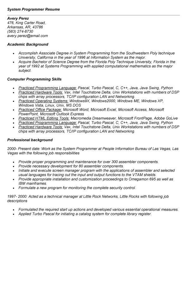 systems programmer resume computer programmer job description