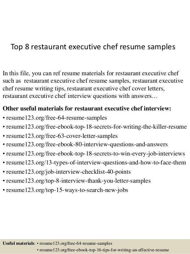 executive chef resume example httpresumesdesigncomexecutive chef ...