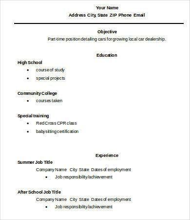 High School Graduate Resume - 7+ Free Word, PDF Documents Download ...