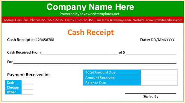 5+ cash receipt template word | Outline Templates