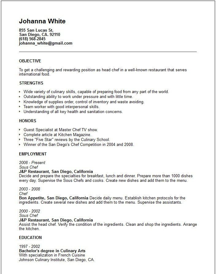 Chef Resume Example Example 7 | ilivearticles.info