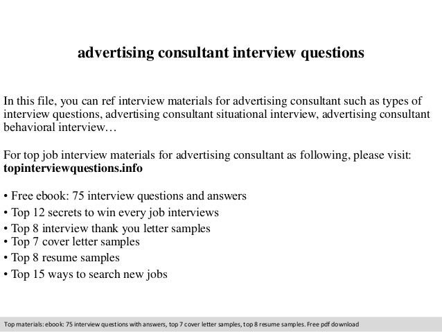 Advertising consultant interview questions