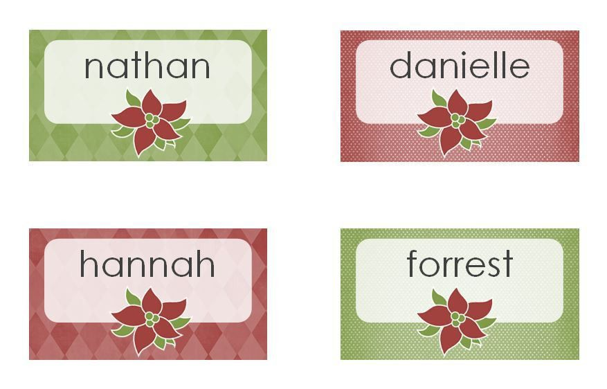 Christmas Dinner Place Cards