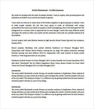 Artist Statement Examples - 8+ Free PDF Documents Download | Free ...