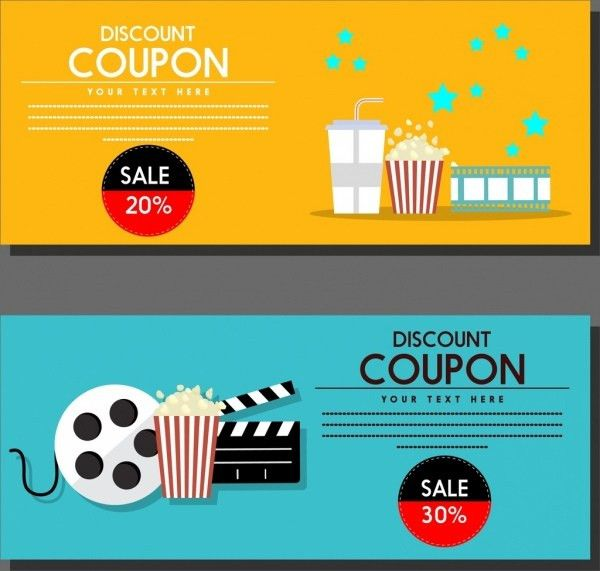 Movie discount coupon templates colored symbols icons ornament ...