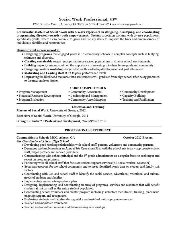 Social Work Resume Objective Statement - SampleBusinessResume.com ...