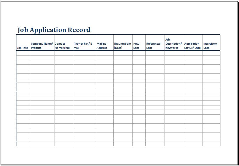 Printable Job Application Log Template MS Excel | Excel Templates