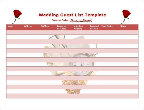 Sample Wedding Guest List - 6+ Documents In PDF, Word