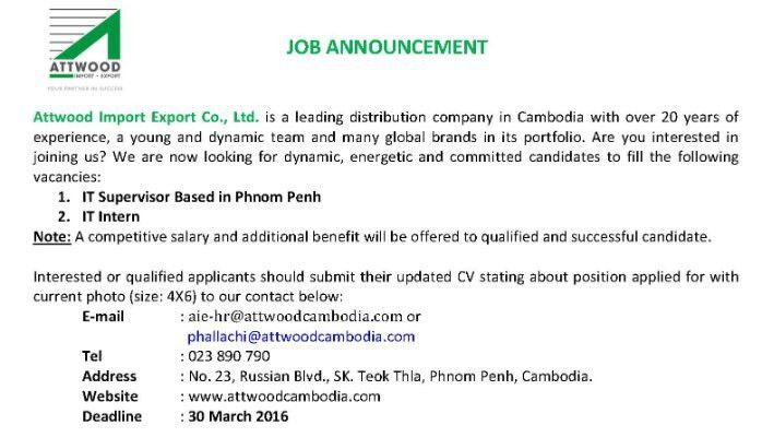 IT Supervisor and Intern Urgently Needed | Chi Phalla | Pulse ...