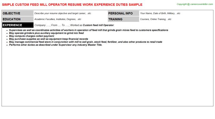 Custom Feed Mill Operator Job Title Docs