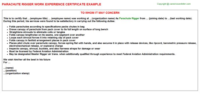 Telecom Rigger Work Experience Letters